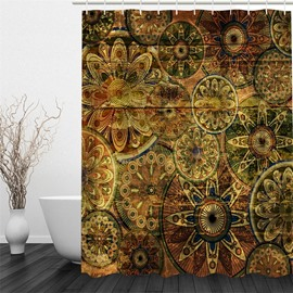 3D Flowers Pattern Classic Style Polyester Waterproof and Eco-friendly Shower Curtain