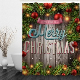 3D Merry Christmas Pattern Polyester Waterproof and Eco-friendly Shower Curtain