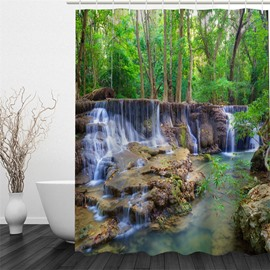 3D Stream in Forest Pattern Polyester Waterproof and Eco-friendly Shower Curtain