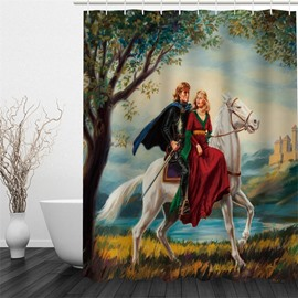 3D Prince and Princess Riding Horse Polyester Waterproof Antibacterial and Eco-friendly Shower Curtain
