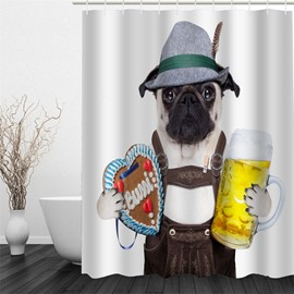 3D Fashionable Dog Pattern Polyester Waterproof Antibacterial and Eco-friendly White Shower Curtain