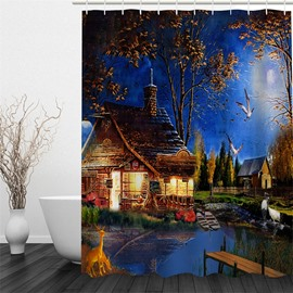 3D Lightening Houses at Night Pattern Polyester Waterproof Antibacterial and Eco-friendly Shower Curtain