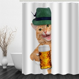 3D Cat in Cap and Beer Polyester Waterproof Antibacterial and Eco-friendly Shower Curtain