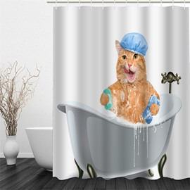 3D Cat in Bathtub Pattern Polyester Waterproof Antibacterial and Eco-friendly White Shower Curtain