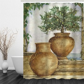 3D Houseplants Pattern Polyester Waterproof Antibacterial and Eco-friendly Shower Curtain