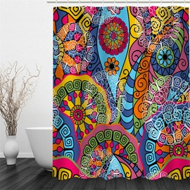 3D Colored Floral Pattern Polyester Waterproof Antibacterial and Eco-friendly Shower Curtain