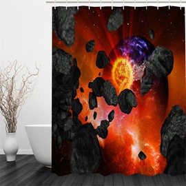3D Volcano and Planet Pattern Polyester Waterproof Antibacterial and Eco-friendly Shower Curtain