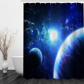 3D Planets in Universe Pattern Polyester Waterproof Antibacterial and Eco-friendly Shower Curtain