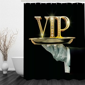 3D Golden VIP Pattern Polyester Waterproof Antibacterial and Eco-friendly Black Shower Curtain