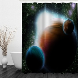 3D Planets in Galaxy Polyester Waterproof Antibacterial and Eco-friendly Shower Curtain