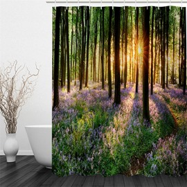 3D Sunshine through Forest Polyester Waterproof and Eco-friendly Shower Curtain
