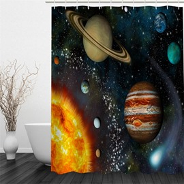 3D Operating Planets Printed Polyester Waterproof and Eco-friendly Shower Curtain