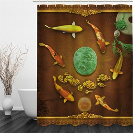 3D Fishes Surrounding Jade Pattern Polyester Waterproof Antibacterial and Eco-friendly Shower Curtain