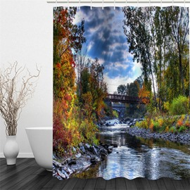 3D Trees and Stream under Blue Sky Polyester Waterproof Antibacterial Eco-friendly Shower Curtain