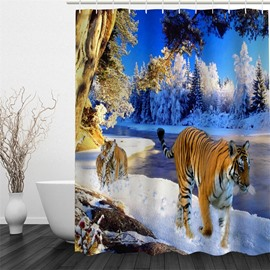 3D Walking Tigers on Snowy Ground Polyester Waterproof Antibacterial and Eco-friendly Shower Curtain