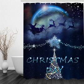 3D Christmas Pattern Polyester Waterproof and Eco-friendly Shower Curtain