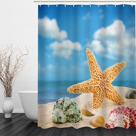 3D Starfish Concorn and Shells under Blue Sky Polyester Waterproof Eco-friendly Shower Curtain
