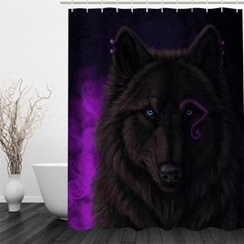 3D Brown Wolf Pattern Polyester Waterproof and Eco-friendly Shower Curtain