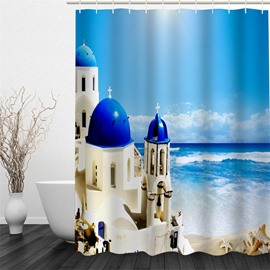 3D Blue Sea beside Castle Printed Polyester Waterproof and Eco-friendly Shower Curtain