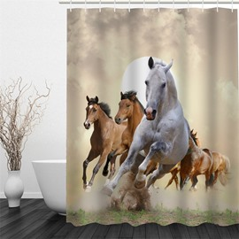3D Running Horses Pattern Polyester Waterproof Antibacterial and Eco-friendly Shower Curtain