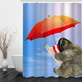 3D Bradypod in Umbrella Pattern Polyester Waterproof Antibacterial and Eco-friendly Shower Curtain