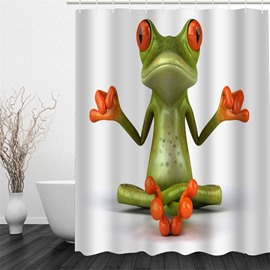 3D Sitting Frog Pattern Polyester Waterproof and Eco-friendly White Shower Curtain