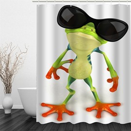 3D Frog with Sunglasses Pattern Polyester Waterproof Antibacterial and Eco-friendly White Shower Curtain