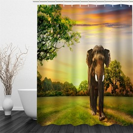 3D Elephant Standing on Green Lawn Polyester Waterproof and Eco-friendly Shower Curtain