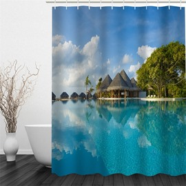 3D Blue Lake and Pavilion Polyester Waterproof Antibacterial and Eco-friendly Shower Curtain