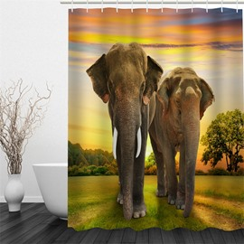 3D Elephants in Sunrise Pattern Polyester Waterproof and Eco-friendly Shower Curtain