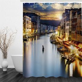 3D Water Buidlings Polyester Waterproof Antibacterial and Eco-friendly Shower Curtain