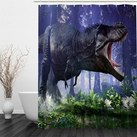 3D Roaring Dinosaur Pattern Polyester Waterproof Antibacterial and Eco-friendly Shower Curtain