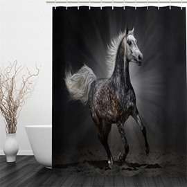 3D Horse Pattern Polyester Waterproof Antibacterial and Eco-friendly Black Shower Curtain