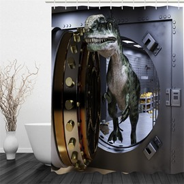 3D Dinosaur through Door Printed Polyester Waterproof Antibacterial and Eco-friendly Shower Curtain