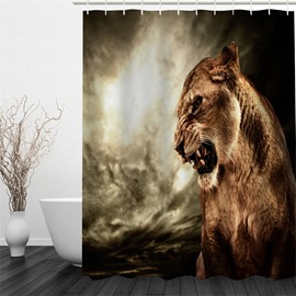 3D Brown Female Lion Pattern Polyester Waterproof Antibacterial and Eco-friendly Shower Curtain