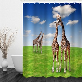 3D Blue Sky Covering Giraffes and Lawn Polyester Waterproof Antibacterial Eco-friendly Shower Curtain