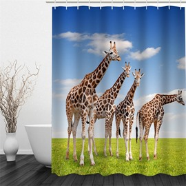 3D Giraffes on Green Lawn Polyester Waterproof Antibacterial and Eco-friendly Shower Curtain