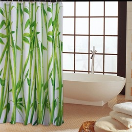3D Green Bamboos Printed Polyester Waterproof Antibacterial and Eco-friendly White Shower Curtain