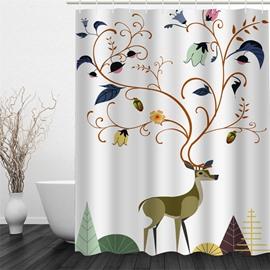 3D Deer Flowers Polyester Waterproof Antibacterial and Eco-friendly Shower Curtain
