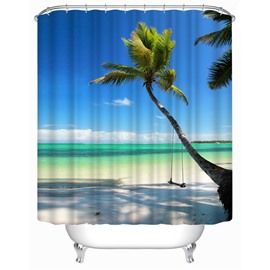 3D Beach in Blue Sky Pattern Polyester Waterproof Antibacterial and Eco-friendly Shower Curtain