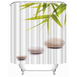 3D Bamboos and Stones Printed Polyester Waterproof Antibacterial and Eco-friendly Shower Curtain