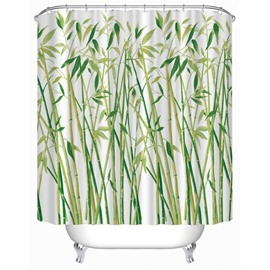 3D Green Bamboos on White Background Polyester Waterproof Antibacterial and Eco-friendly Shower Curtain