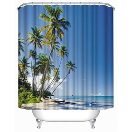 3D Beach in Blue Sky Printed Polyester Waterproof Antibacterial and Eco-friendly Shower Curtain