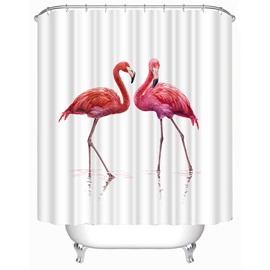 3D White Background with Flamingos Printed Polyester Waterproof Antibacterial and Eco-friendly Shower Curtain