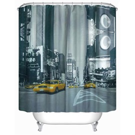 3D Running Taxi Surrounded by Buildings Polyester Waterproof Antibacterial and Eco-friendly Shower Curtain