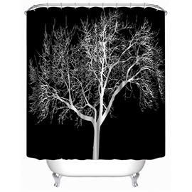 3D Black Background with Tree Printed Polyester Waterproof Antibacterial and Eco-friendly Shower Curtain