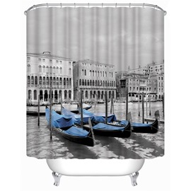 3D Blue Boat in Water Town Polyester Waterproof Antibacterial and Eco-friendly Shower Curtain