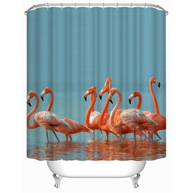 3D Flamingos in Lake Printed Polyester Waterproof Antibacterial and Eco-friendly Shower Curtain