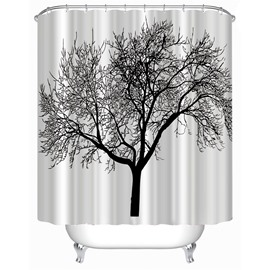 3D Black Tree on White Background Polyester Waterproof Antibacterial and Eco-friendly Shower Curtain