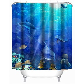 3D Dolphins and Fishes in Blue Sea Polyester Waterproof Antibacterial Eco-friendly Shower Curtain